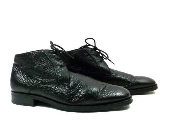 1980s Best Leather Calf Skin Leather Mens shoes // size 9 wide // lace up Desert Style Ankle Boot  // Black