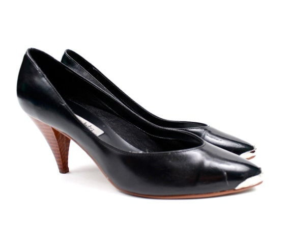 New Womens George Black Pumps High Heels Shoes Size 11