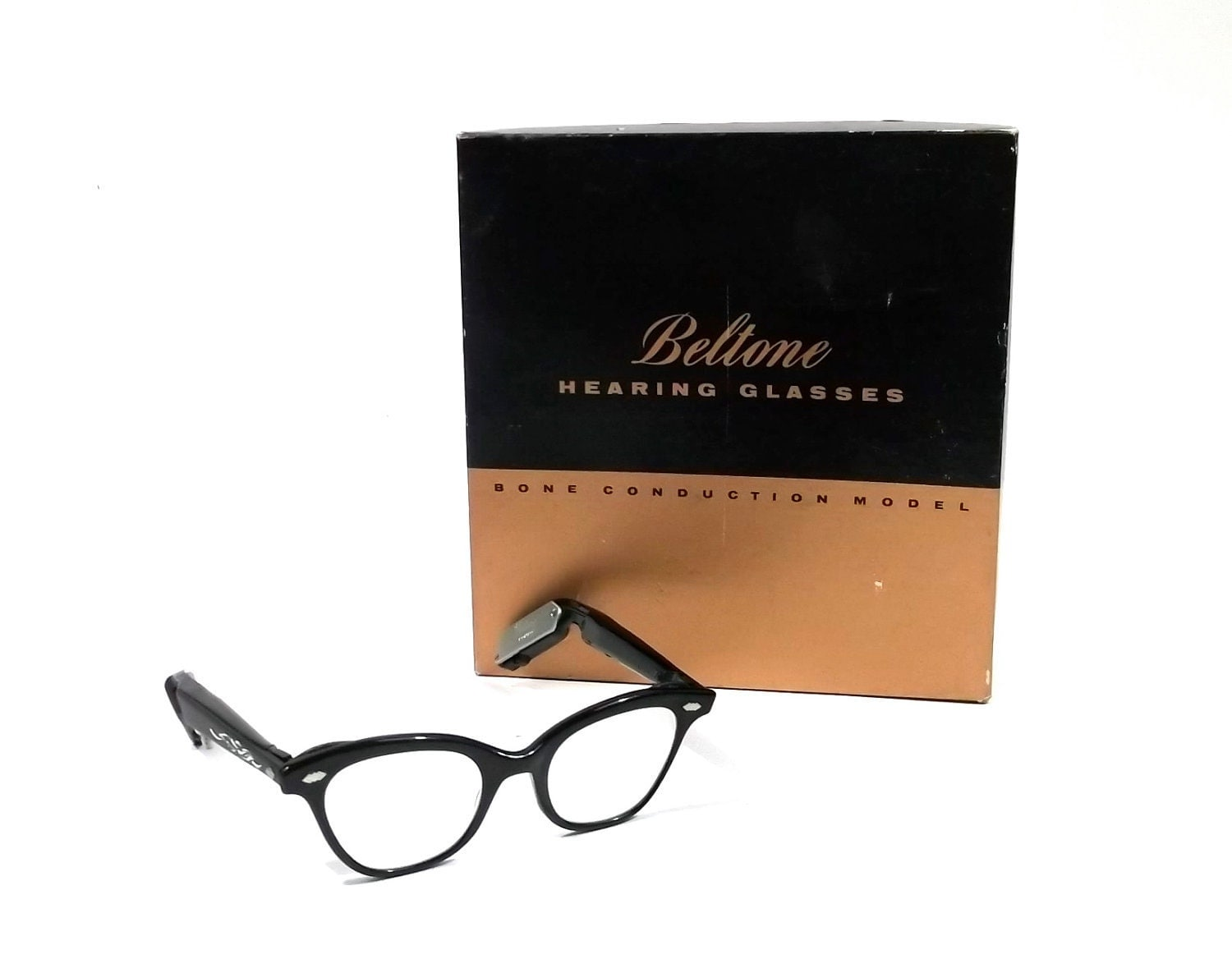 Eyeglass Frames For Hearing Aids : BELTONE 1950s rare Hearing AID Glasses // Bone Conduction