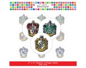 Harry Potter Hogwarts Houses Crests Digital Collage Sheet (No. 029) - 1 Inch Circles, Magnets, Hair Bow Centers, Stickers, and More