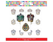 Harry Potter Hogwarts Houses Crests Scrabble Tile Images (No. 050) - Digital Collage Sheet Scrabble Size Tiles 0.75 Inch x 0.83 Inch