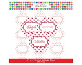 Hearts Valentines Day Label Editable PDF Collage Sheet (No. 154) - 1 Inch Circles Round Bottle Caps, Magnets, Hair Bow Centers, Stickers