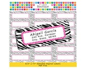 PDF Editable Return Address Labels Pink & Black Zebra AUTOFILL (No. 161) Favor Tags Printable Tags/ Stickers/ Labels Avery 5160, 8160