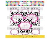 PDF Editable Pink Zebra 2 Inch Squares Digital Collage Sheet (No. 193) Stickers Labels Cupcake Toppers Avery 22806