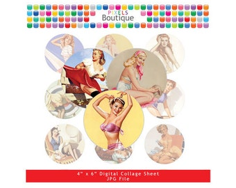 Vintage Pin Up Girls Digital Collage Sheet (No. 013) - 1 Inch Circles for Round Bottle Caps, Magnets, Hair Bow Centers, Stickers, and More