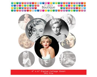 Marilyn Monroe Digital Collage Sheet (No. 014) - 1 Inch Circles for Round Bottle Caps, Magnets, Hair Bow Centers, Stickers, and More