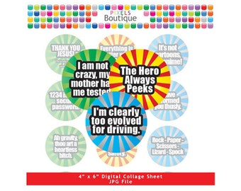 Funny Sayings The Big Bang Theory Digital Collage Sheet (No. 072) - 1 Inch Circles Round Bottle Caps, Magnets, Hair Bow Centers, Stickers