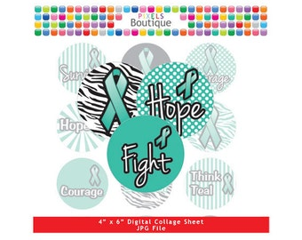 Ovarian Cancer Awareness Collage Sheet (No. 075) - 1 Inch Circles Round Bottle Caps, Magnets, Hair Bow Centers, Stickers