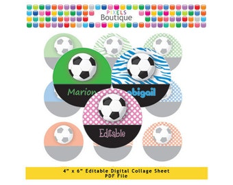 Rainbow Soccer Football Editable PDF Digital Collage Sheet (No. 077) - 1 Inch Circles Round Bottle Caps, Magnets, Hair Bow Centers, Stickers