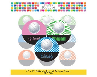 Rainbow Volleyball Editable PDF Digital Collage Sheet (No. 092) - 1 Inch Circles Round Bottle Caps, Magnets, Hair Bow Centers, Stickers