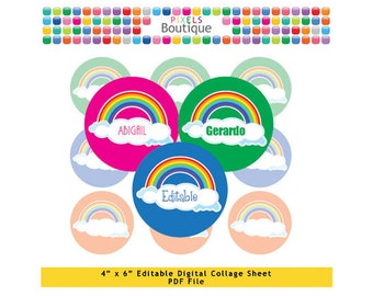 Rainbow and Clouds Editable PDF Digital Collage Sheet (No. 103) - 1 Inch Circles Round Bottle Caps, Magnets, Hair Bow Centers, Stickers