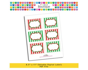 """PDF Editable Christmas Stripes Assorted Tags/ Stickers/ Labels (No. 125) 3.5"""" X 2.5"""" Labels, Buffet or Food Cards, Favor Tags Printable"""