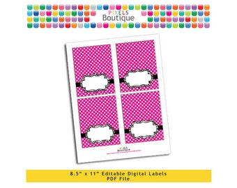 """PDF Editable Pink Polka Dot & Zebra Tent Labels Place Cards Tags (No. 133) 3.5"""" X 4.5"""" Labels, Buffet or Food Cards, Favor Tags Printable"""