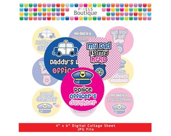 Policeman Daughter Dad Hero Collage Sheet (No. 173) - 1 Inch Circles Round Bottle Caps, Magnets, Hair Bow Centers, Stickers Police