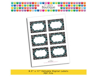 """PDF Editable Black & Teal Damask Assorted Tags/ Stickers/ Labels (No. 186) 3.5"""" X 2.5"""" Labels, Buffet or Food Cards, Favor Tags Printable"""
