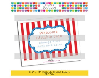 """PDF Editable Circus Red Striped Welcome or Game Sign (No. 192) 10"""" X 7.5"""" Labels, Buffet Food Cards, Favor Printable Tangled Party"""