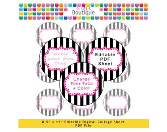 PDF Editable Black Stripe 2 Inch Circles Digital Collage Sheet (No. 195) Stickers Labels Cupcake Toppers