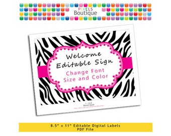 """PDF Editable Black & Pink Zebra Welcome or Game Sign (No. 198) 10"""" X 7.5"""" Labels, Buffet Food Cards, Favor Printable Wedding Party"""