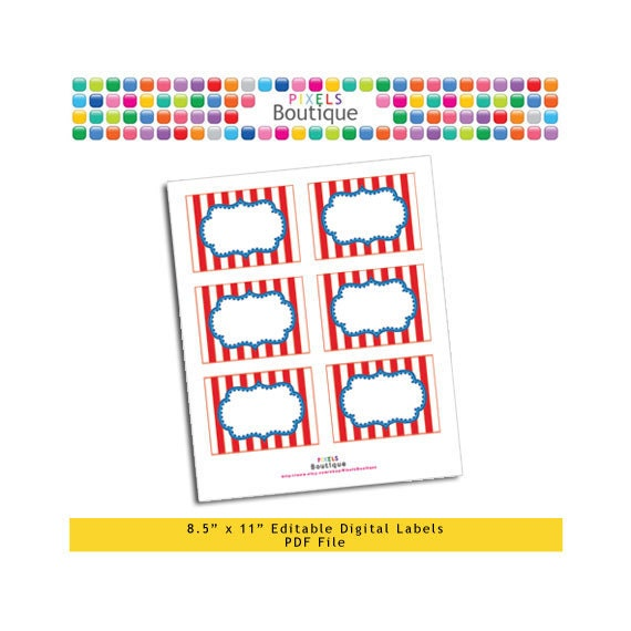 """PDF Editable Circus Style Assorted Tags/ Stickers/ Labels (No. 116) 3.5"""" X 2.5"""" Labels, Buffet or Food Cards, Favor Tags Printable"""