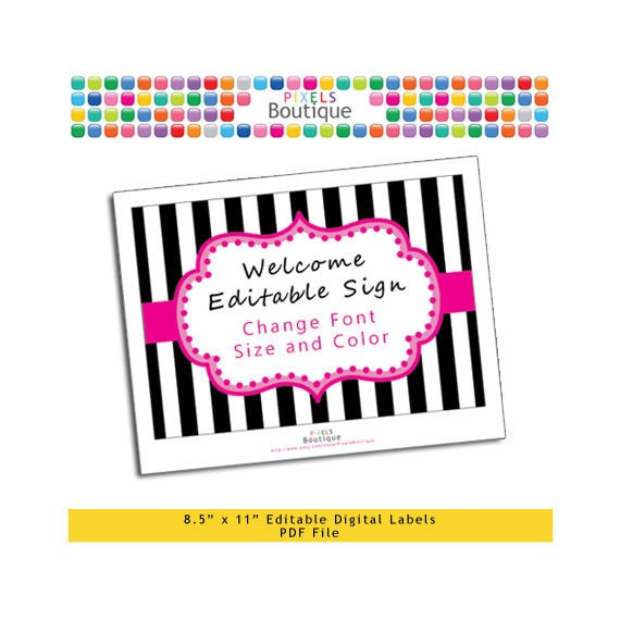 "PDF Editable Pink & Black Stripes Welcome or Game Sign (No. 206) 10"" X 7.5"" Labels, Buffet Food Cards, Favor Printable Wedding Party"