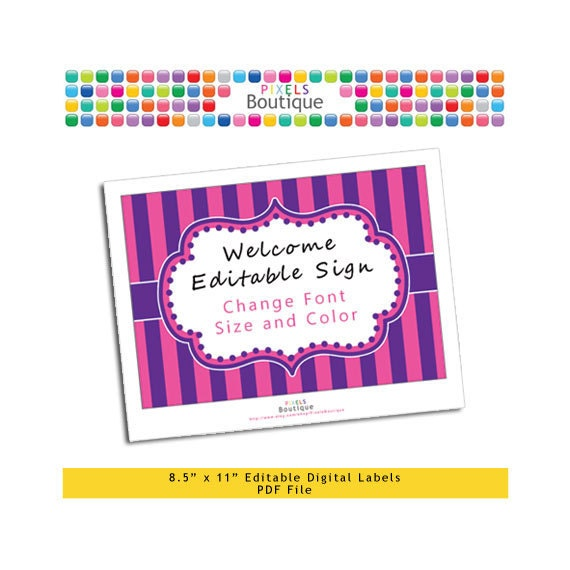 """PDF Editable Purple & Pink Stripes Dora Welcome or Game Sign (No. 211) 10"""" X 7.5"""" Labels, Buffet Food Cards, Favor Printable Wedding Party"""