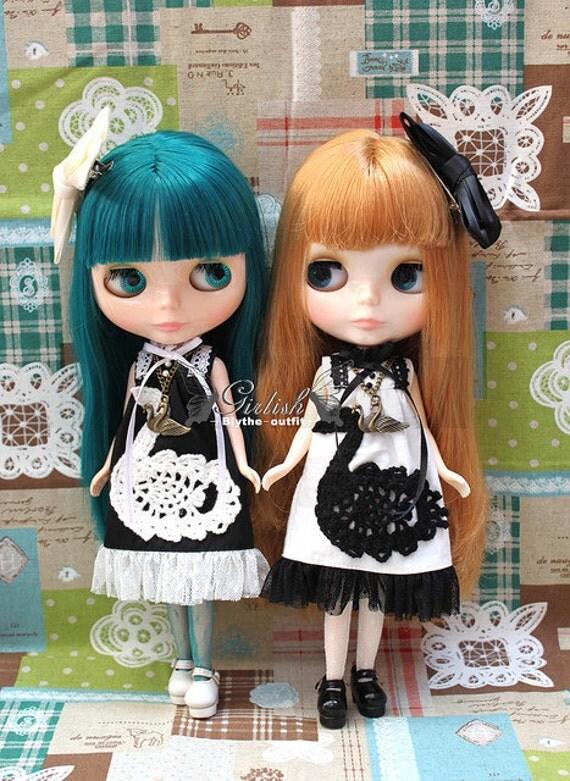 10% OFF - Twins sets - Girlish Black & White swan twins dress for Blythe doll