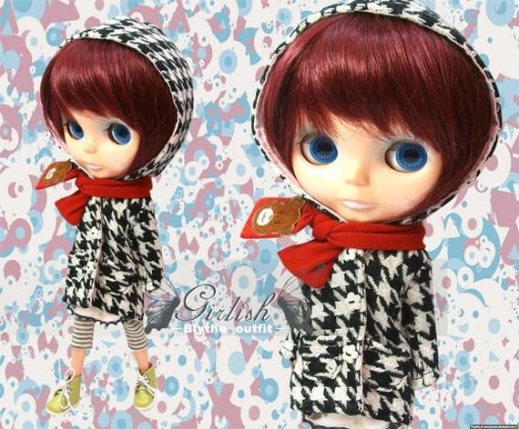 30% OFF - LAST SET - Girlish houndstooth coat  set outfit for Blythe doll - last set