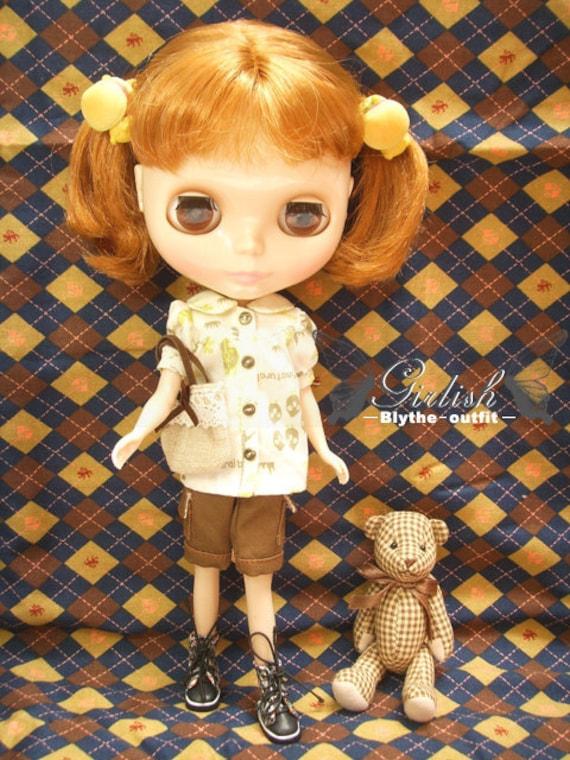 30% OFF - LAST SET - Girlish lovely shirt with dark brown pocket pants set for Blythe doll - last set