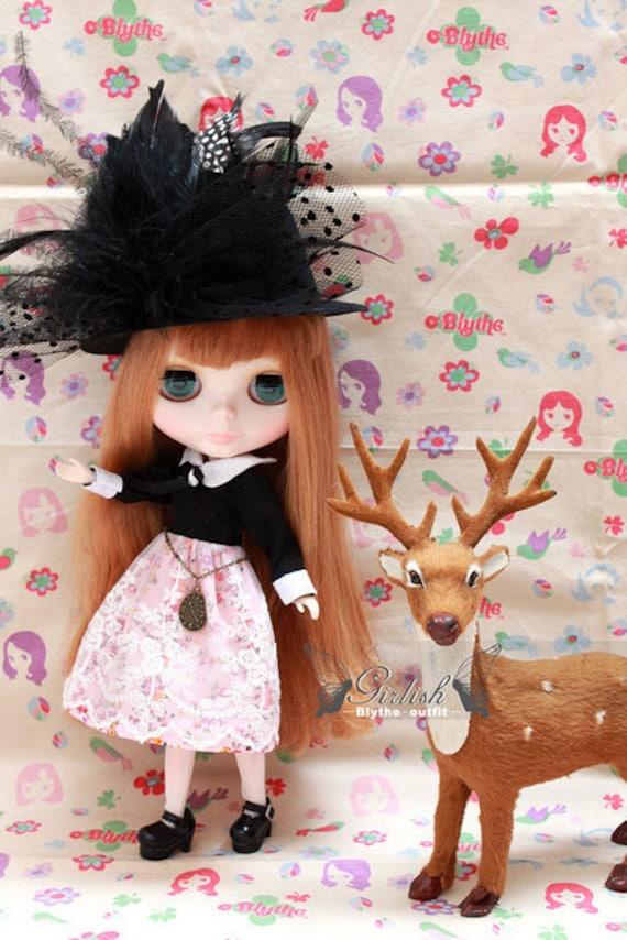 LAST SET - Girlish Miss Hater dress set for Blythe doll