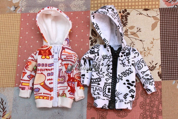 Girlish Black and white painting Zip Jacket for Blythe doll - doll outfit