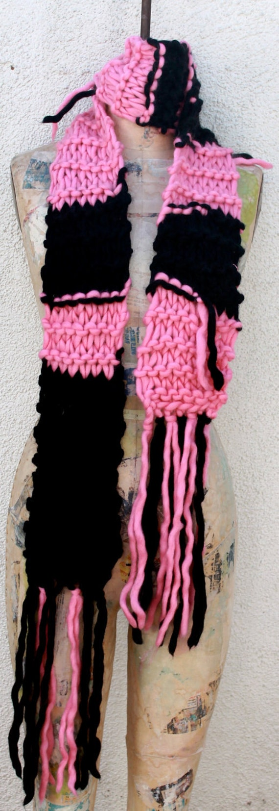 PINK & BLACK Magnum Scarf Hand Knitted, Wide Striped and Fabulous