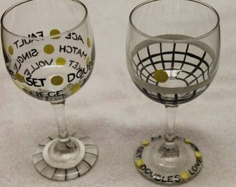 Tennis themed wine glasses (set of two)