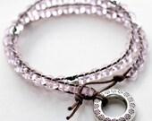 DOUBLE WRAP BRACELET - light pink & silver