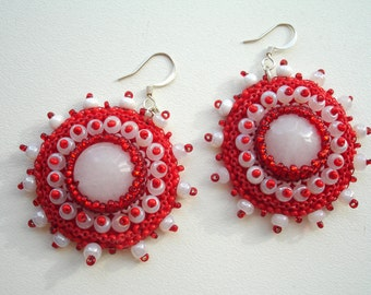 Red earrings white earrings round bead earrings bead earrings dangle red earrings christmas earrings romantic earrings simple earrings OOAK