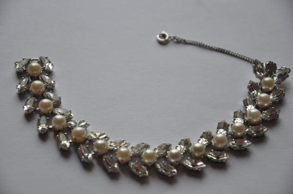 Vintage Trifari bracelet rhinestone faux pearl rhodium plated silver tone 1950s, super sparkly