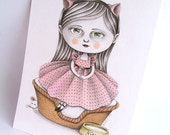 RESERVED for luvmythicalcreatures Original Illustration (Drawing) - Sitting Pretty by Amalia K - Payment Installment No.1
