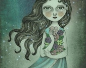 Fine Art Print - Flower the Midnight Goddess by Amalia K