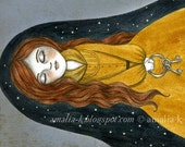 Print of Original Surreal Illustration, Painting of Girl in a Dream, Dream Fantasy Art - In Death in Sleep by Amalia K