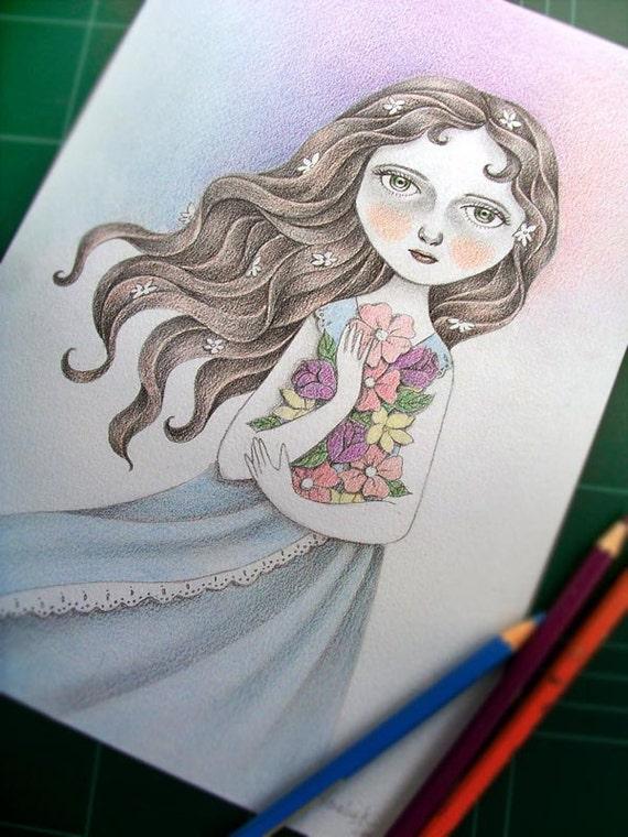 HALF PRICE Original Illustration (Drawing) - Flower the Midnight Goddess by Amalia K