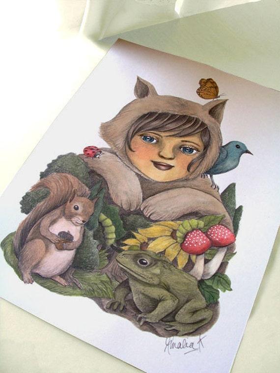 RESERVED for julienne chouteau, 50% DISCOUNT Original Watercolor Painting, Original Art, Nursery Children's Art, Woodland Inspired Art
