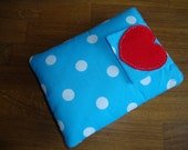 Blue spotty kindle cover with red heart detail and pocket