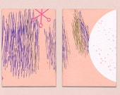 Soft pink notebooks.Original handmade screenprinted A5 notebooks with 60 recycled paper sheets.