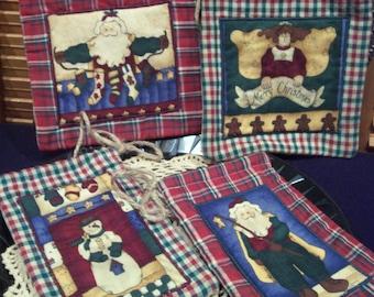Primitive Country Whimsical Christmas Plaid SANTA ANGEL SNOWMAN Ditty Bags Gift Cinch Sacks