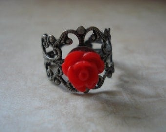 Red Rose Cabochon Antique Bronze Filigree Ring