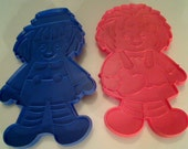 Reserved for Evelyn Breault -- 1970's Very Large 8 inch Vintage Raggedy Ann and Andy Cookie Cutters