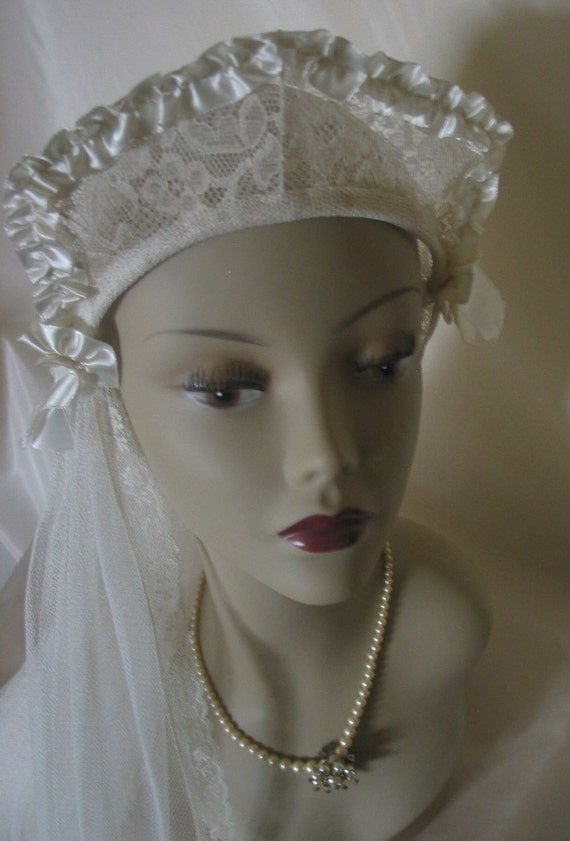 1920s Vintage Lace and Ruched Ivory Satin Ribbon Crown Style Wedding Headpiece and  Veil