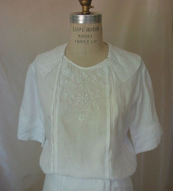Vintage Edwardian White Embroidered Cotton Dress