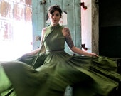 Mid Century Suzy Perette Edamame Green Flamenco Dress - Jaw Dropping - Size XS