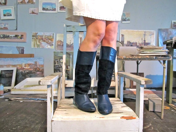 Tall Vintage Boots - Monochromatic Navy Leather & Suede - Size 8 1/2