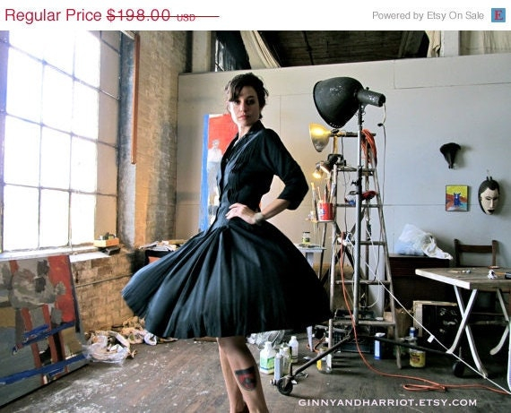 ON SALE 1950s Cocktail Dress - Alfred Shaheen Black Silk Pleated Button Up Dress - Size XS